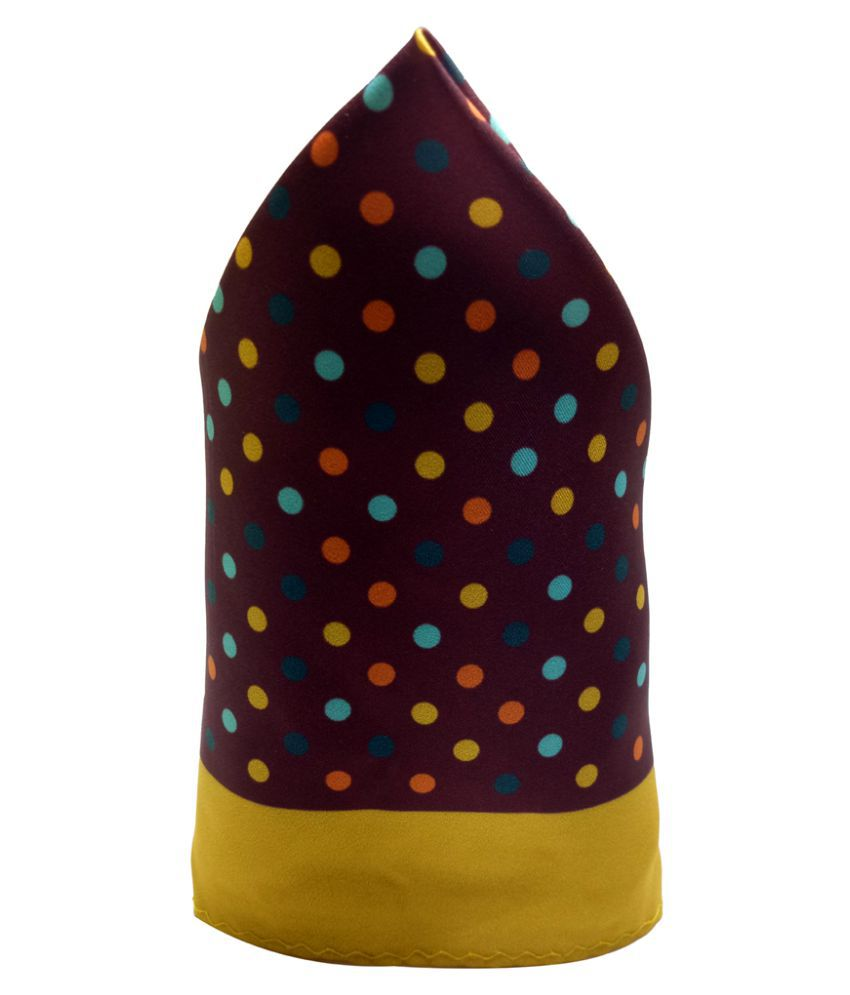 Mentiezi Poly Silk Multicolor Dotted Pocket Square with Yellow Color Border