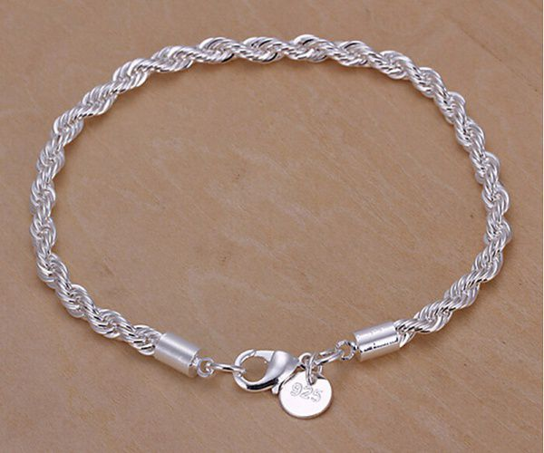 a84106ce7bee5 Women's Men's 4MM 925 Sterling Silver Twisted Rope Chain Necklace ...