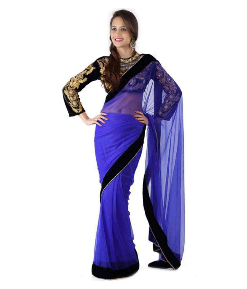 Bhuwal Nx Blue Georgette Saree