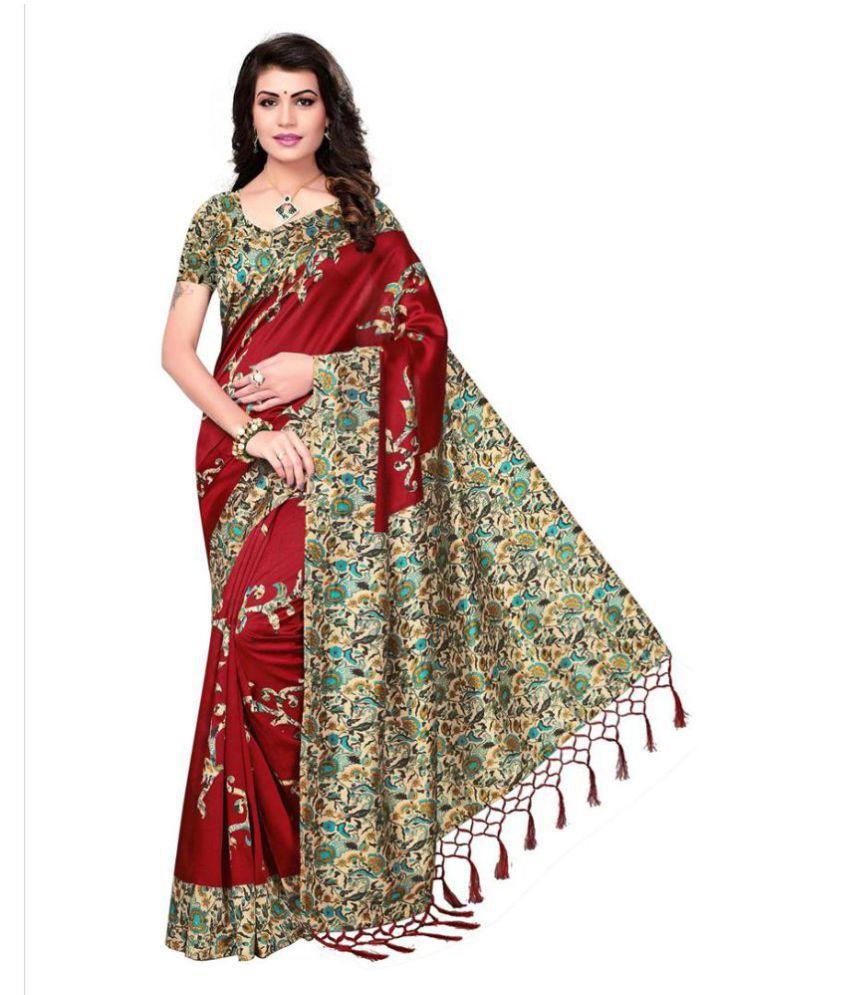 Indira Red Mysore Silk Saree
