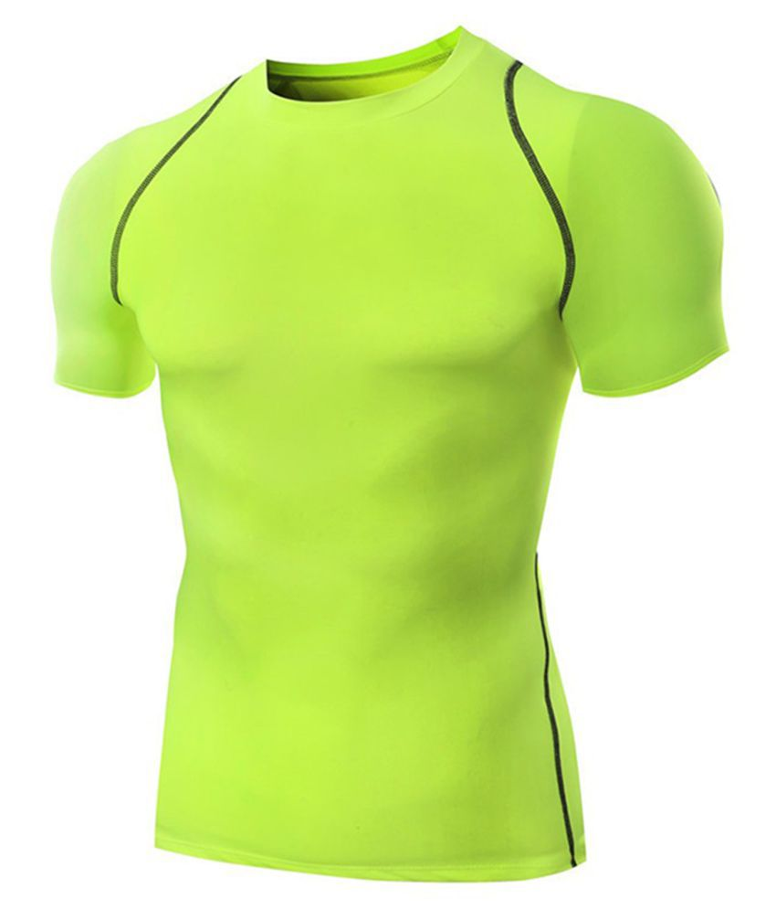Zesteez Neon Green Half sleeves Men ultra stretchable gym-  workout compression support tshirt in premium Quality   fabric || compression Support || GYM || YOGA|| Active-  wear || Sportswear|| cycling||Running
