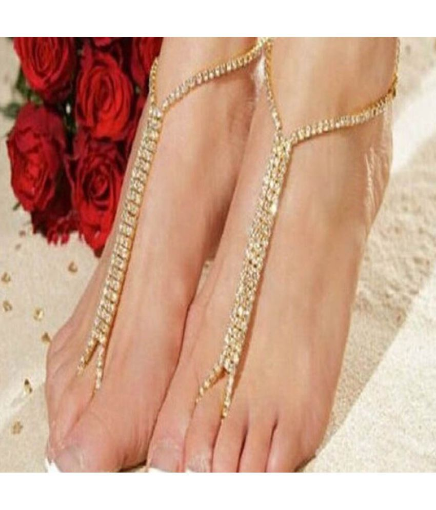2016 Highquality Barefoot Beach Sandals Bridal Wedding Rhinestone Anklet Foot Chain Jewelry