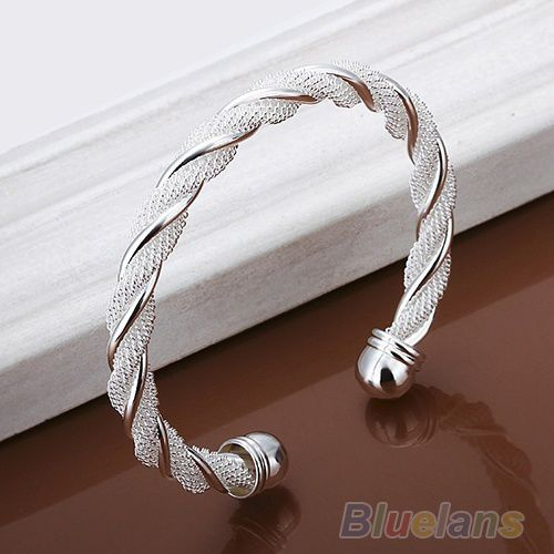 Silver Plated Twist Net Cuff Bangle Fashion Bracelet , women's bangle, fashion jewelry