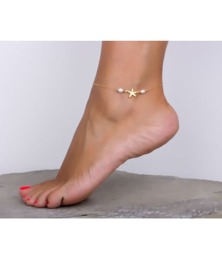 Starfish Anklet / Gold Anklet / Pearl anklet / Freshwater Pearl Jewelry /Starfish Jewelry /Foot Jewelry / Bridesmaid gift