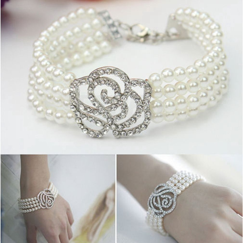 women Elegant 4 Layer Crystal Rose Flower Pearl Bracelet fashion Stylish