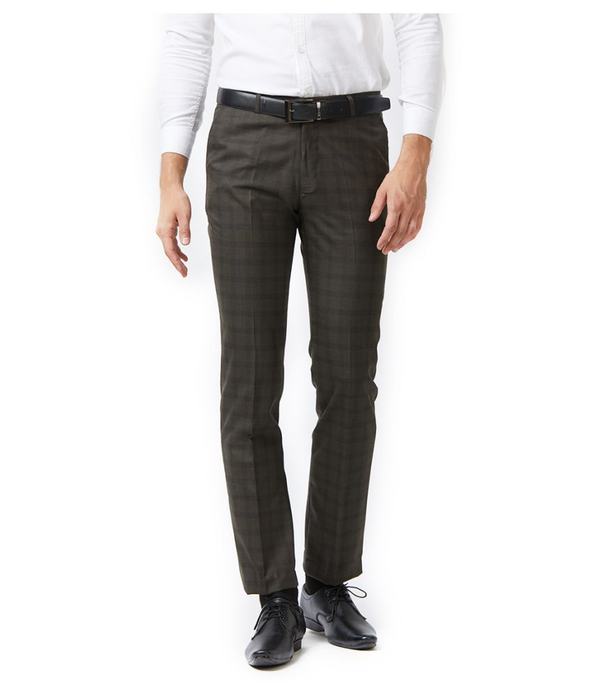 Solemio Brown Slim -Fit Flat Trousers
