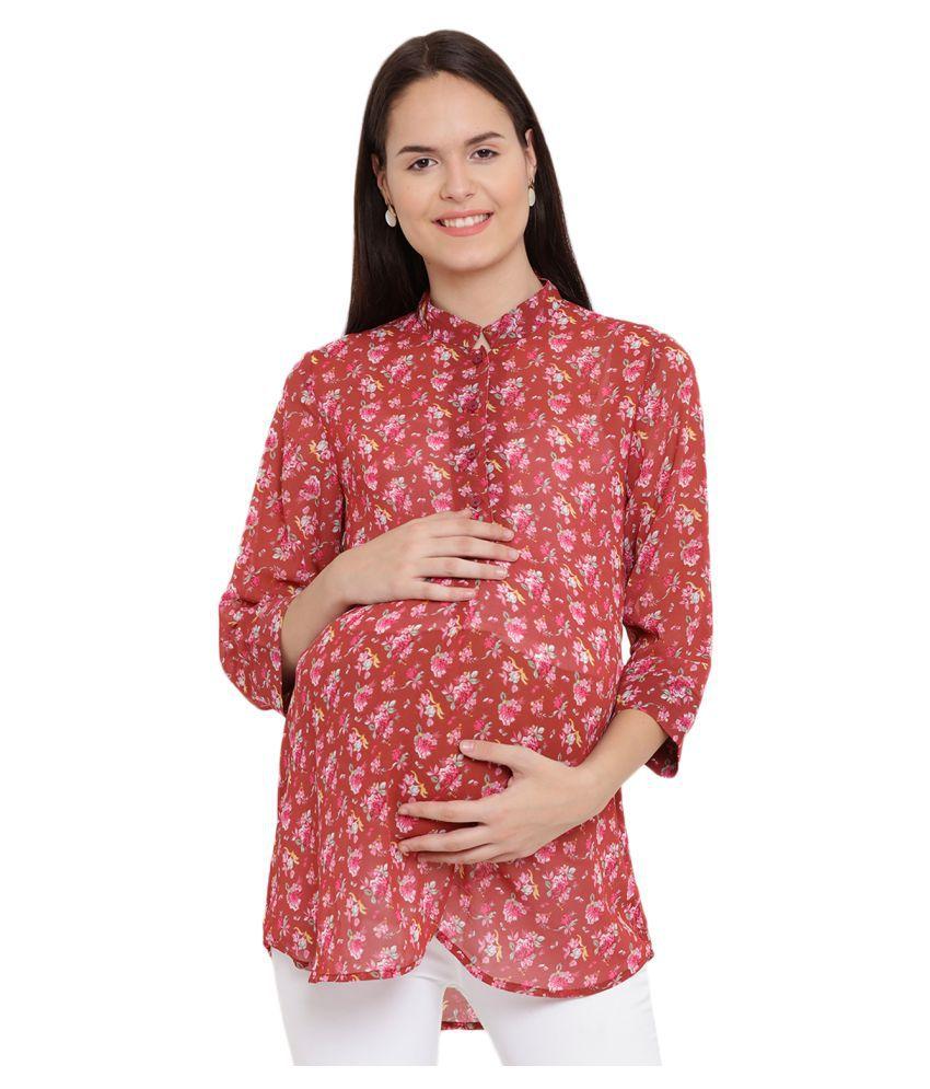 Mine4nine Poly Georgette Maternity Wear Multi Color Tunics