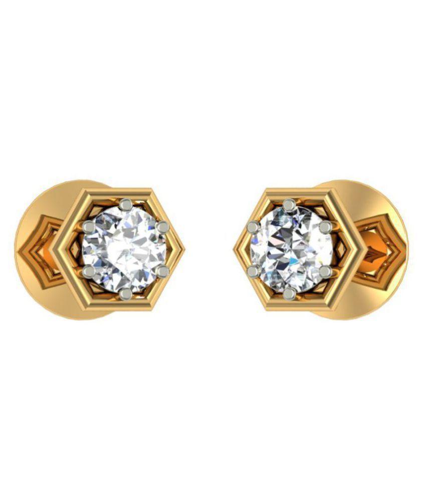 Jewelmantra 18k BIS Hallmarked Gold Diamond Studs