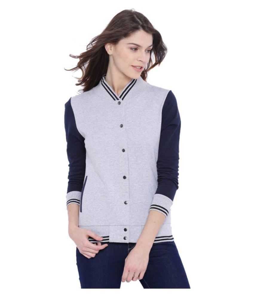 Campus Sutra Cotton Grey Non Hooded Sweatshirt