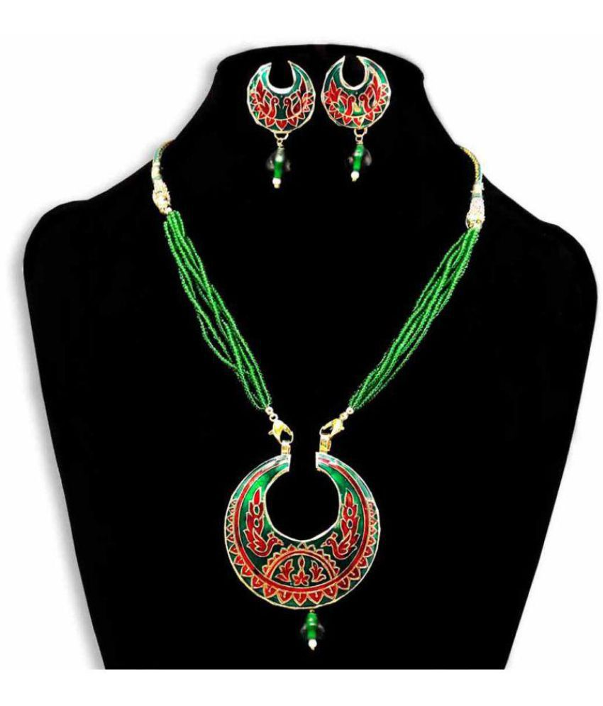 dfe9322a0 Dineshalini Creations Meenakari Green Moon Pendant Set- Indian Jewellery,  Ethnic Jewellery for Women, ...
