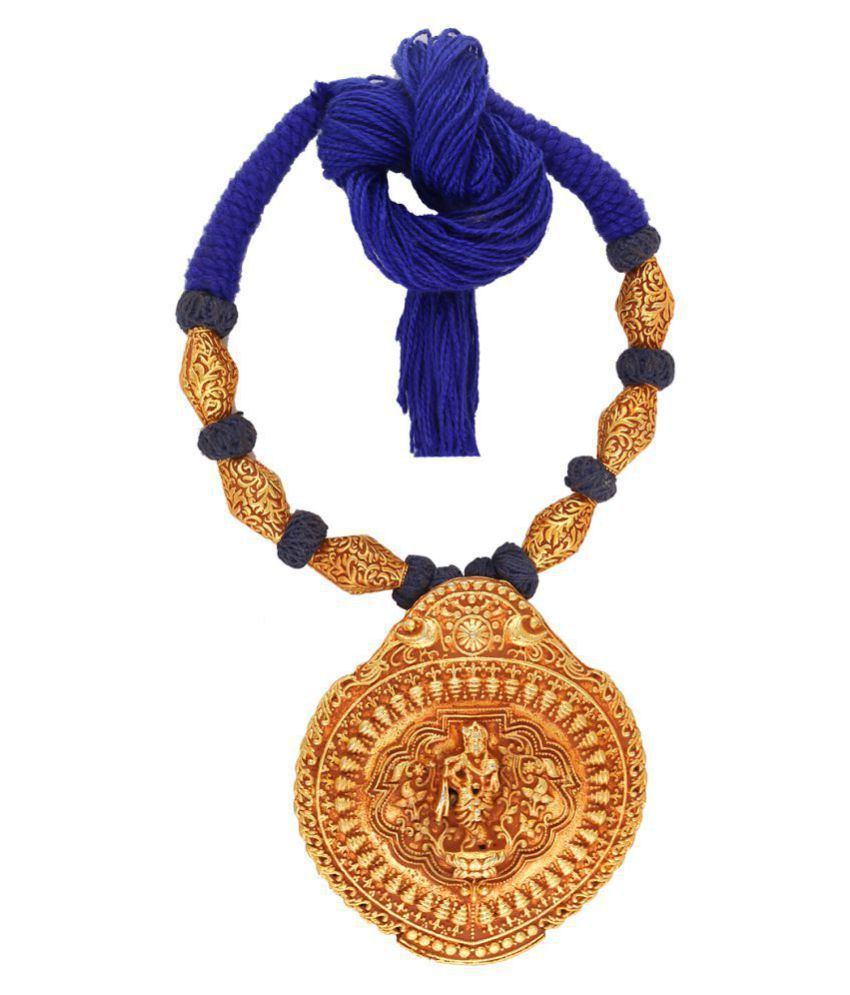 Anuradha Art Blue Colour Styled With 'Krishna' Inspired Pendant Thread Necklace For Women/Girls