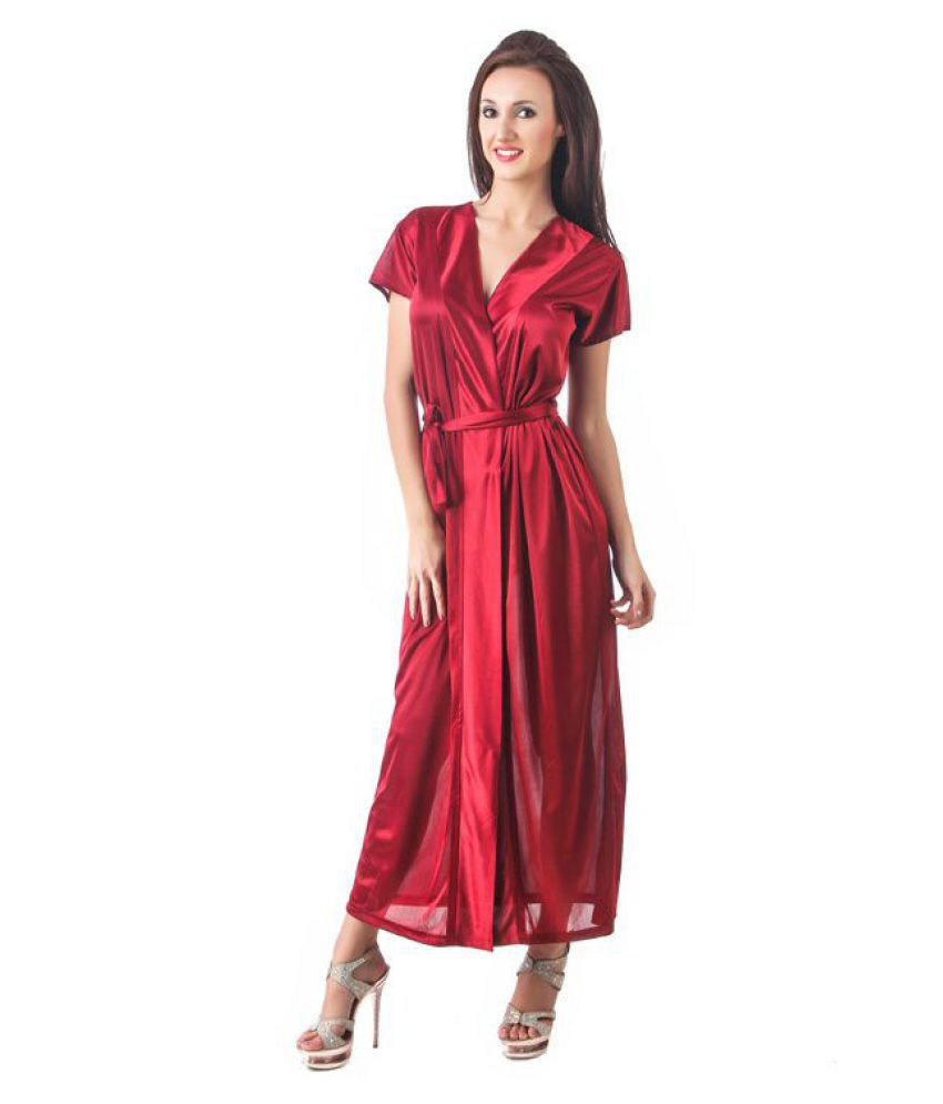 ef91cb1da Buy Fasense Satin Nighty   Night Gowns - Red Online at Best Prices in India  - Snapdeal