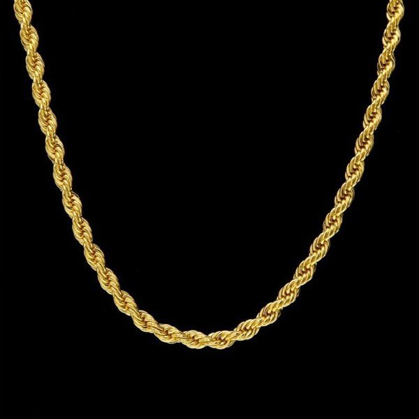 Kamalife 24k Gold Long Chain Necklace Men Jewelry Brand Gothic Gold Color Male Necklace Gifts(Size:18-30inch, 5mm)