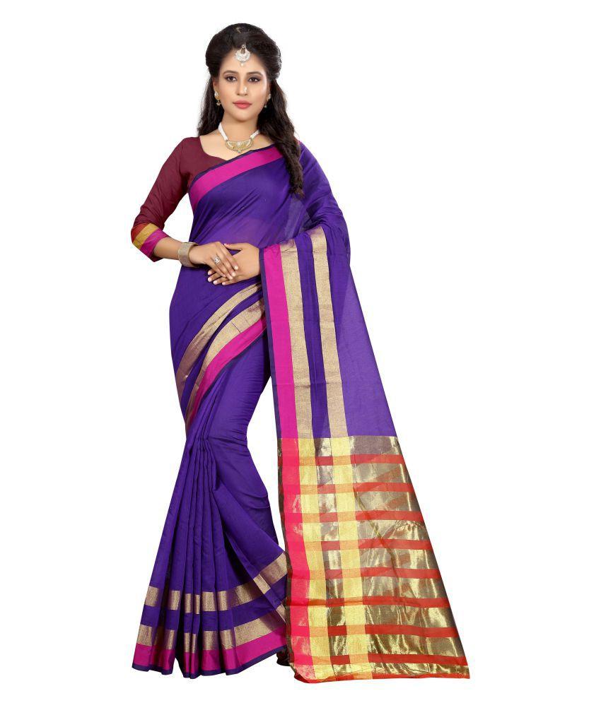 Manvaa Purple Cotton Silk Saree