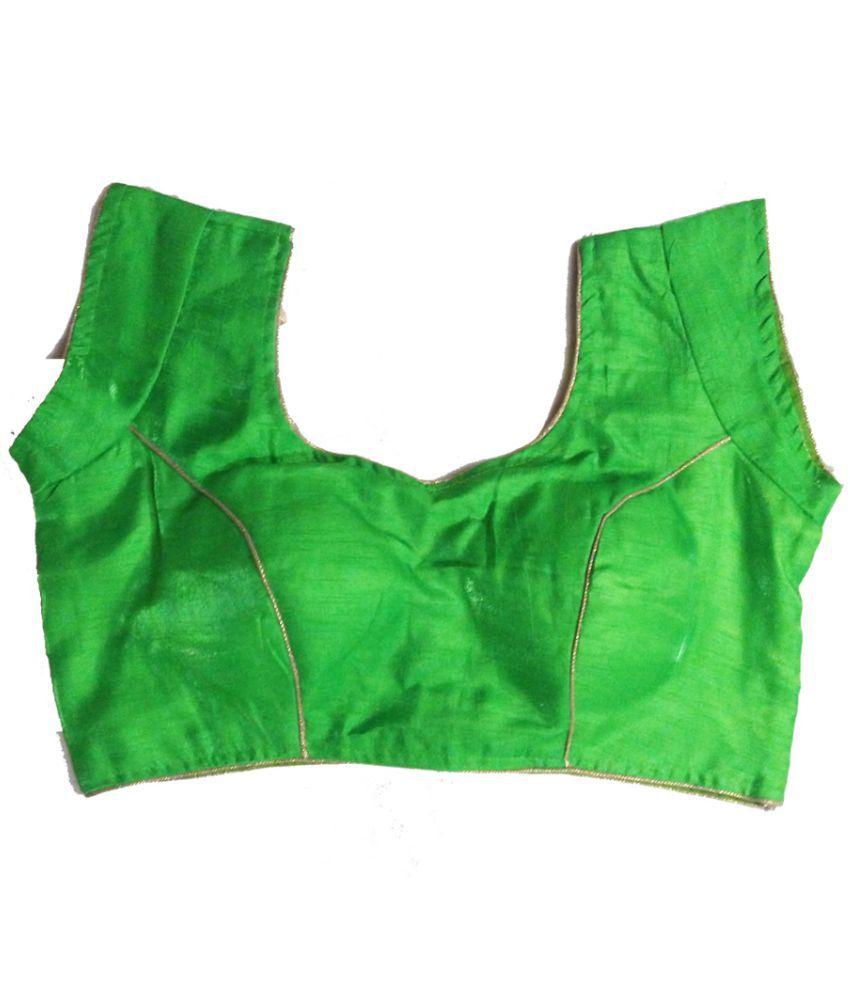 GreenViji Green Art Silk Readymade with Pad Blouse