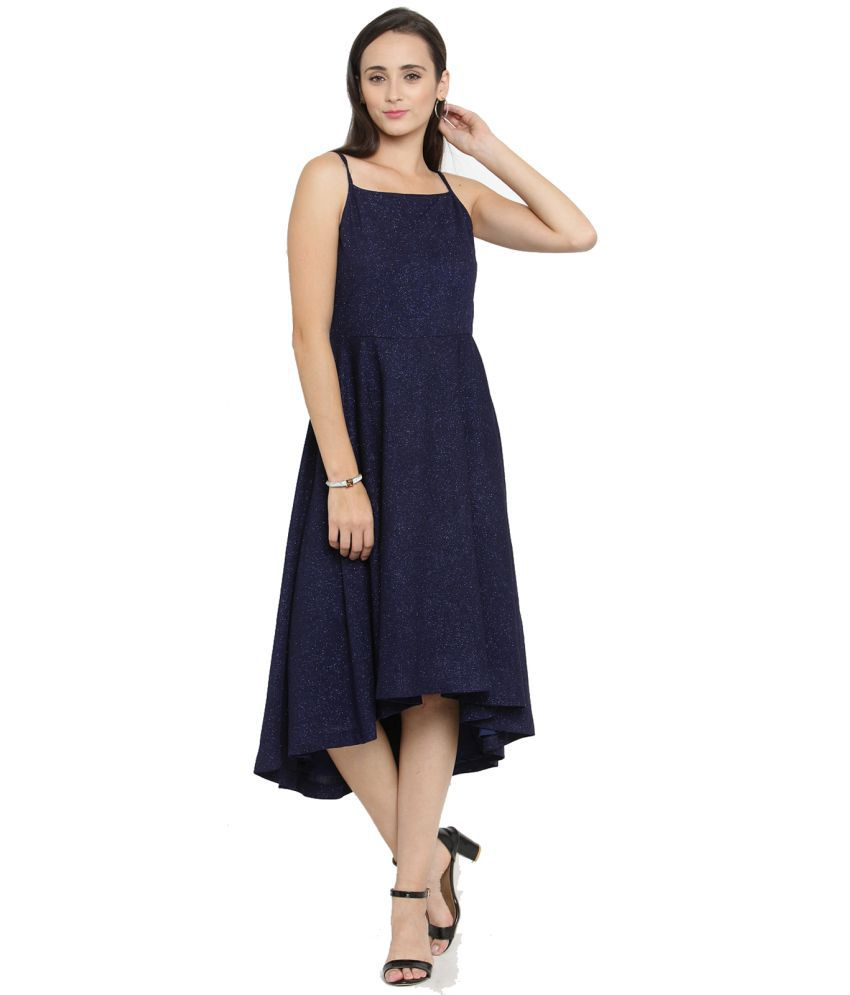 Just Wow Polyester Navy Asymmetric dress