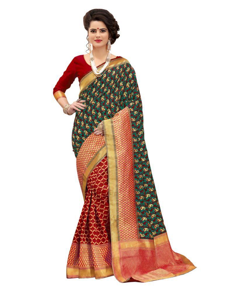 HnG Couture Orange and Beige Banarasi Silk Saree