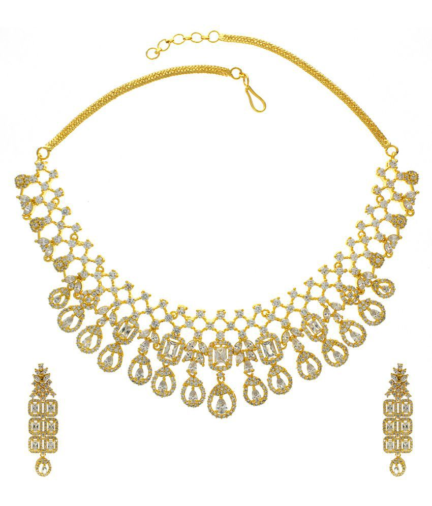 Anuradha Art Gold Finish Styled With Studded Sparkling Stone Designer Necklace Set For Women/Girls