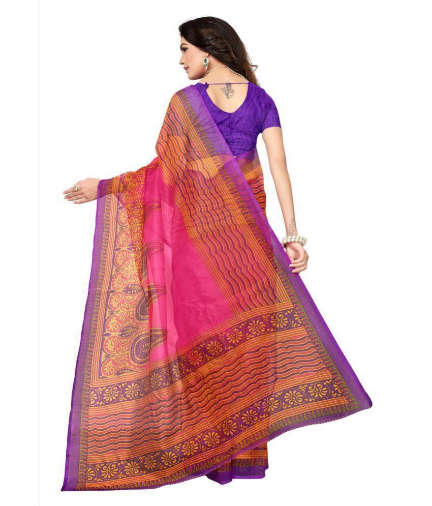 9d10b4ba00 Indian Fashionista Pink and Orange Katan Silk Saree - Buy Indian ...