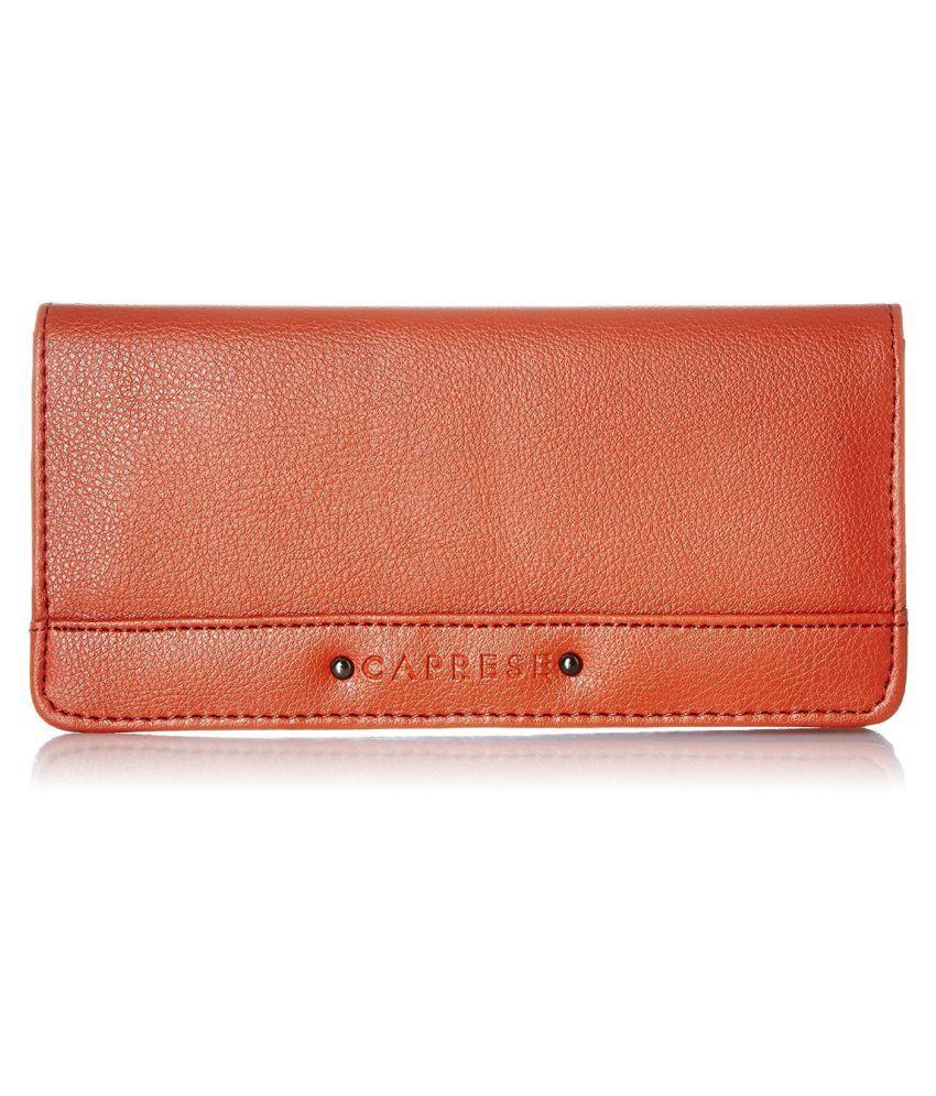Caprese Orange Faux Leather Wristlet