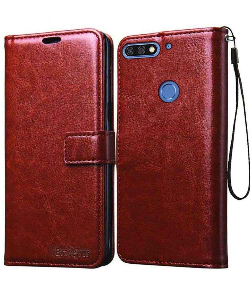 purchase cheap 35aa6 10ae6 Huawei Honor 7C Flip Cover by Bracevor - Brown