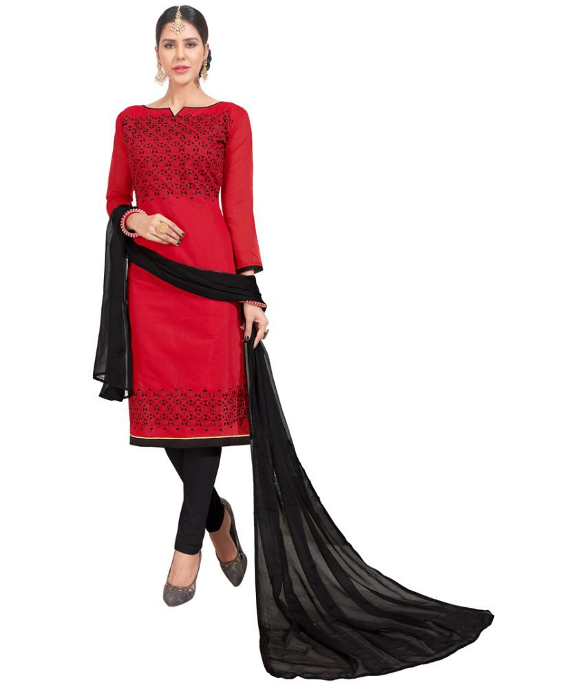 Adyah Enterprise Red Chanderi Dress Material