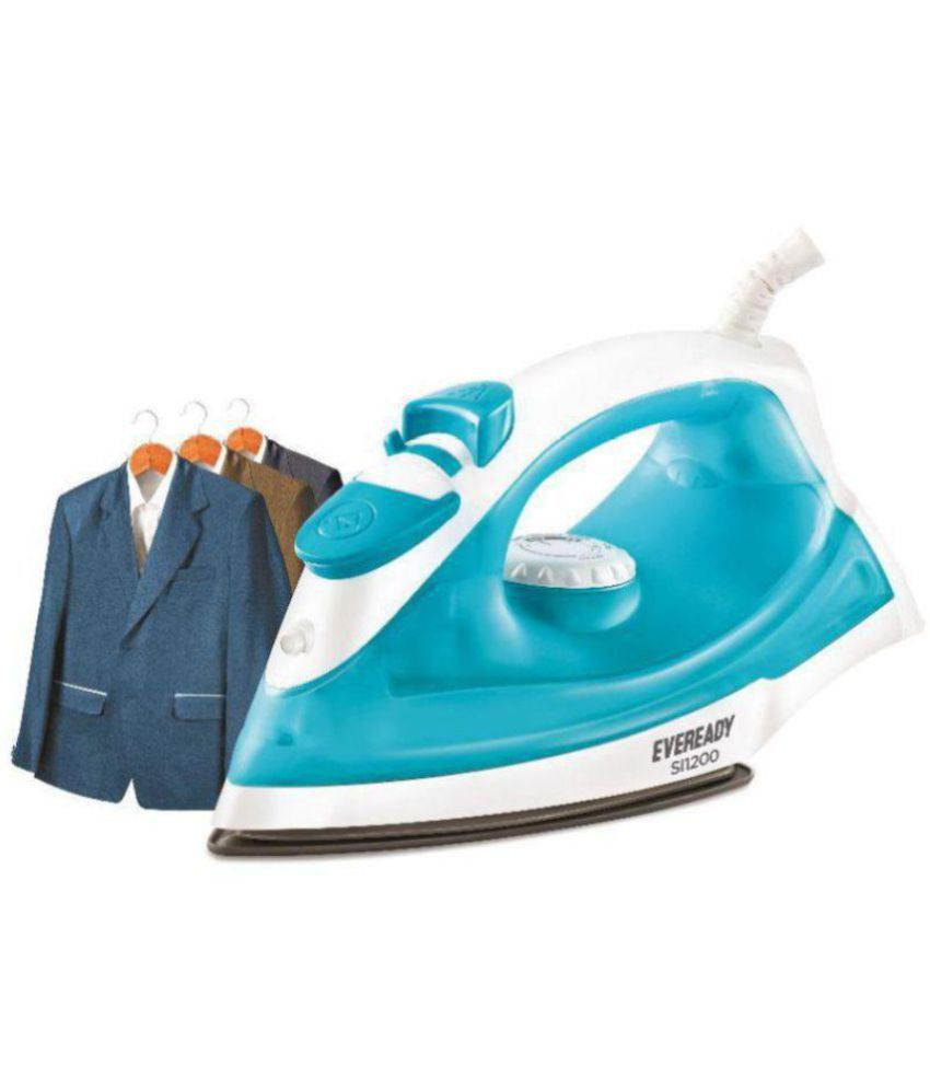 Eveready SI1200 Steam Iron white and turquoise blue