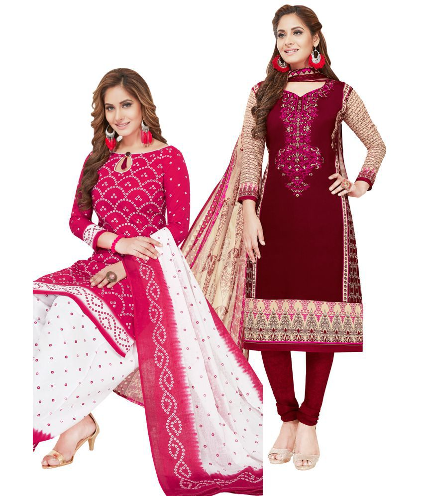 Salwar Studio Red and Beige Synthetic Dress Material