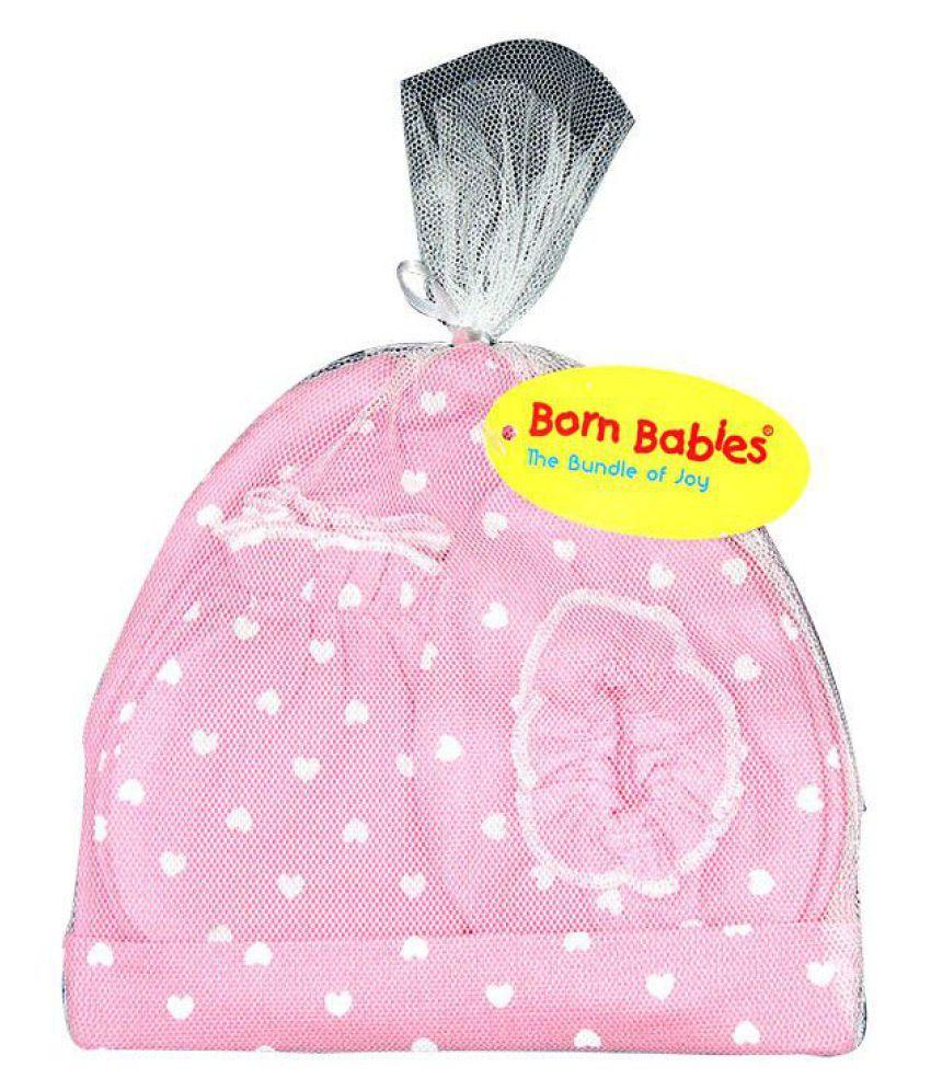 83dcb5a89 BORN BABIES BABY CAP MITTEN BOOTY SET PINK-BB105