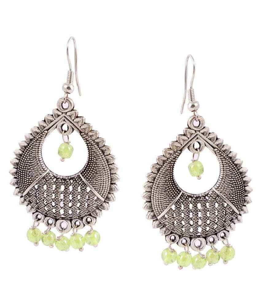 Zeeva Multicolor German Silver Jhumki Earrings With Meenakari Work For Women's
