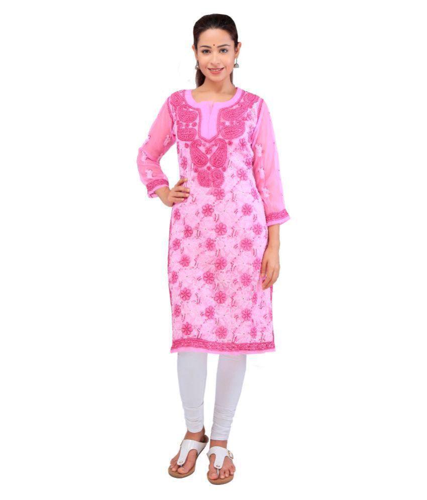 BDS CHIKAN Pink Cotton Straight Kurti