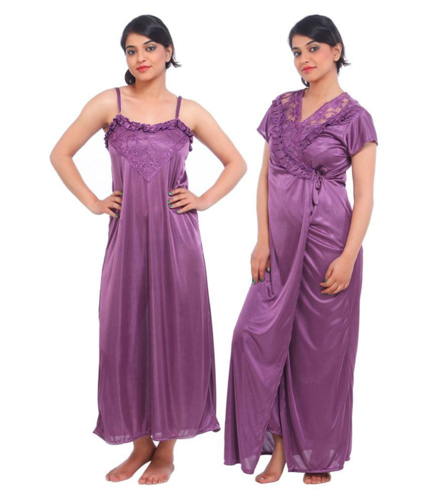 Fasense Satin Nighty & Night Gowns - Purple