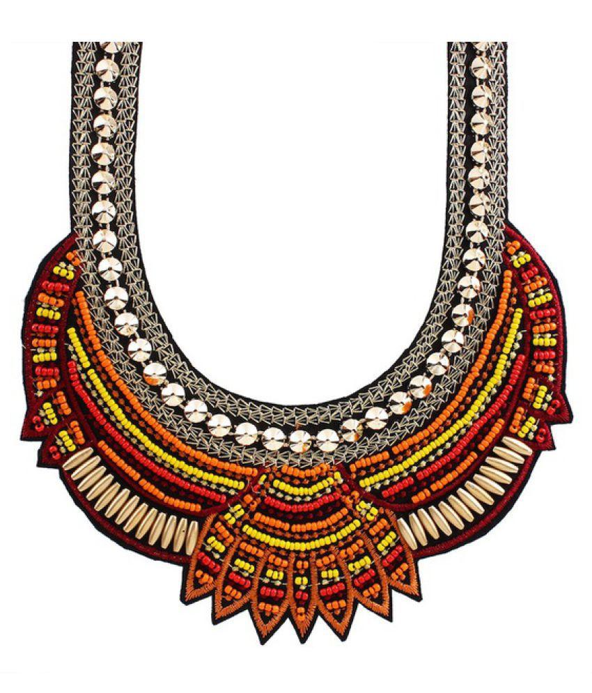 Kamalife New Bohemia Gold Necklace Fashion Ethnic Collares Luxury Multi Color Beads Pendant Statement Bohemia Necklace Jewelry Orange