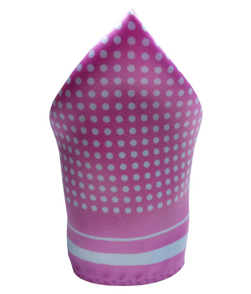Mentiezi Silk White Dotted Pocket Square with Pink  Border