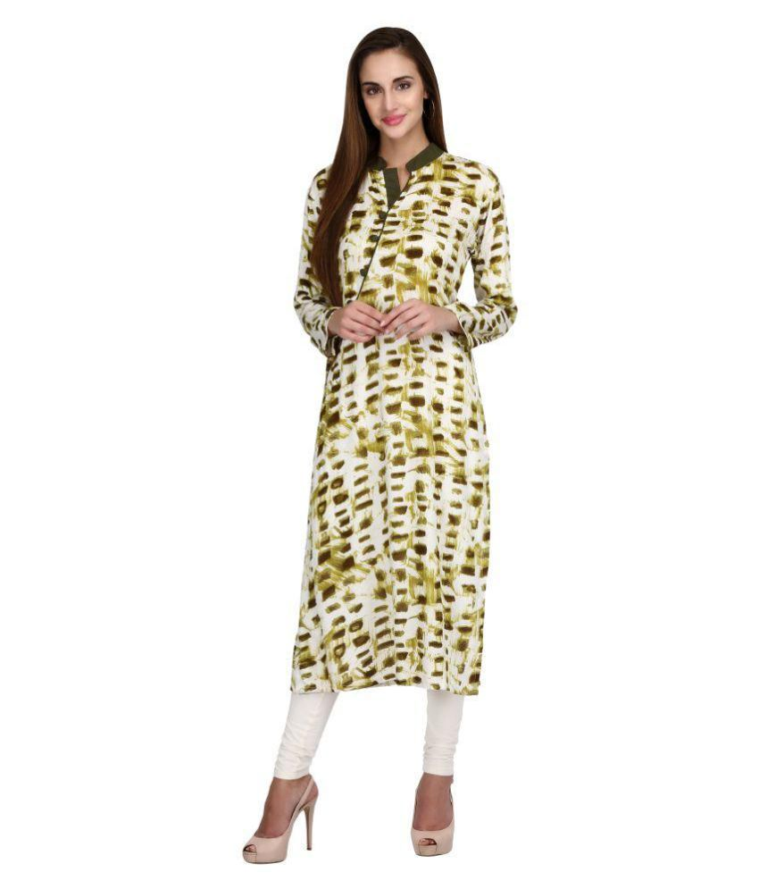 Tina Fashion Green Cotton Straight Kurti