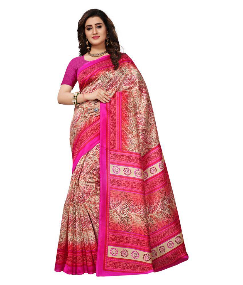 Urban India Pink Silk Saree