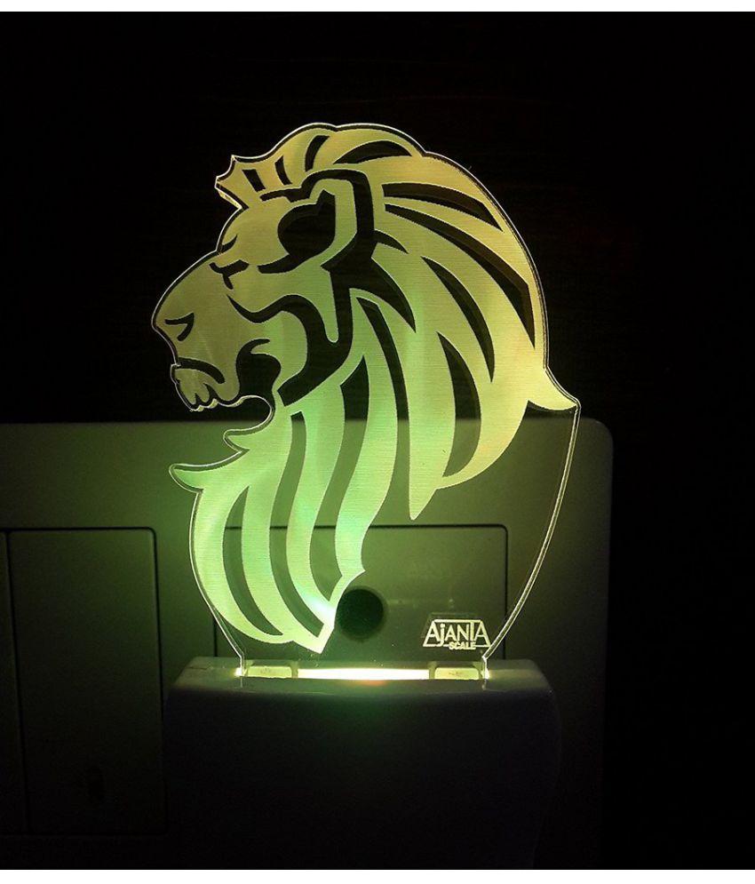 Ajanta Lion Face code 2054 3D Night Lamp Multi - Pack of 1