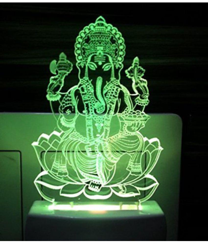 Ajanta Ganesha Bhagwan 3D ( PEN STAND FREE ) Night Lamp Multi - Pack of 1 - decorative light