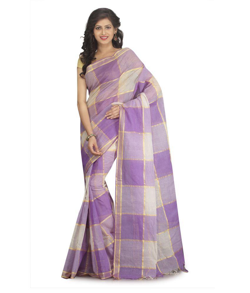 Buymyethnic Purple Cotton Saree