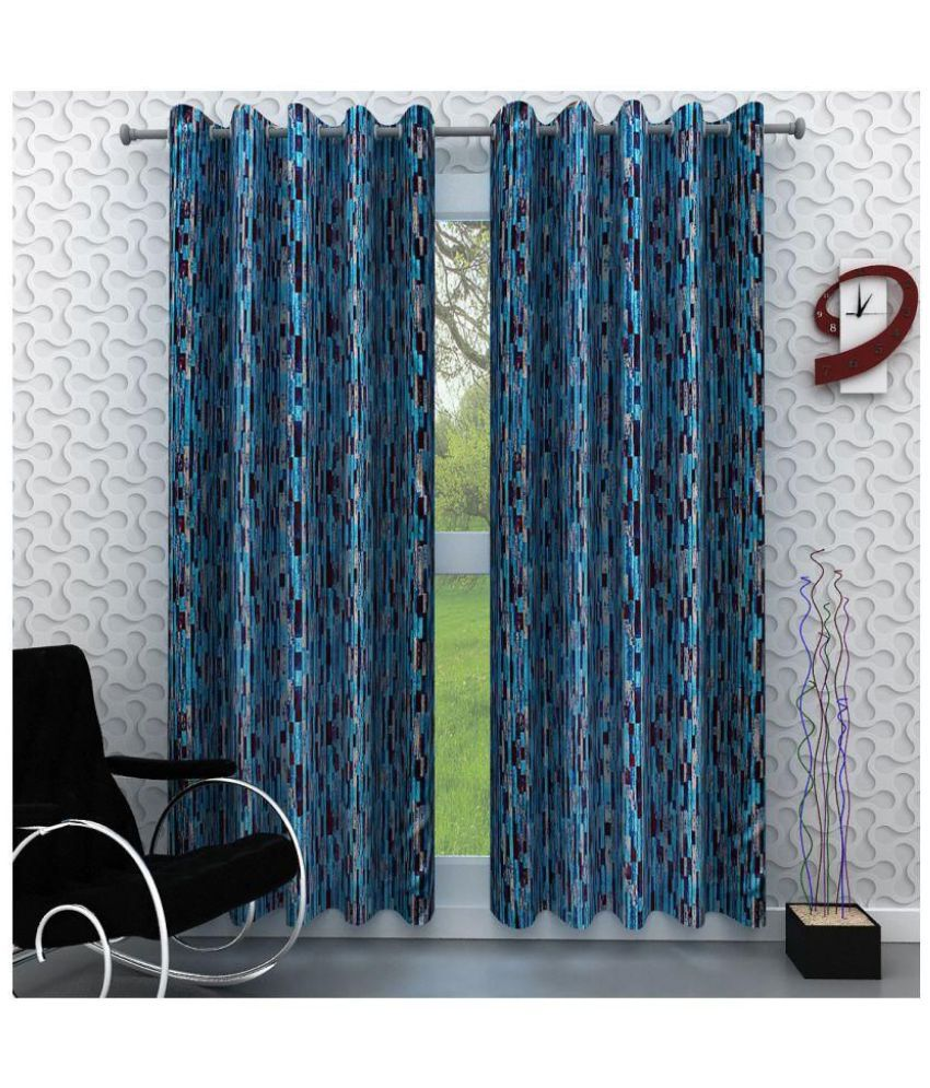 Geonature Set of 2 Door Semi-Transparent Eyelet Polyester Curtains Multi Color