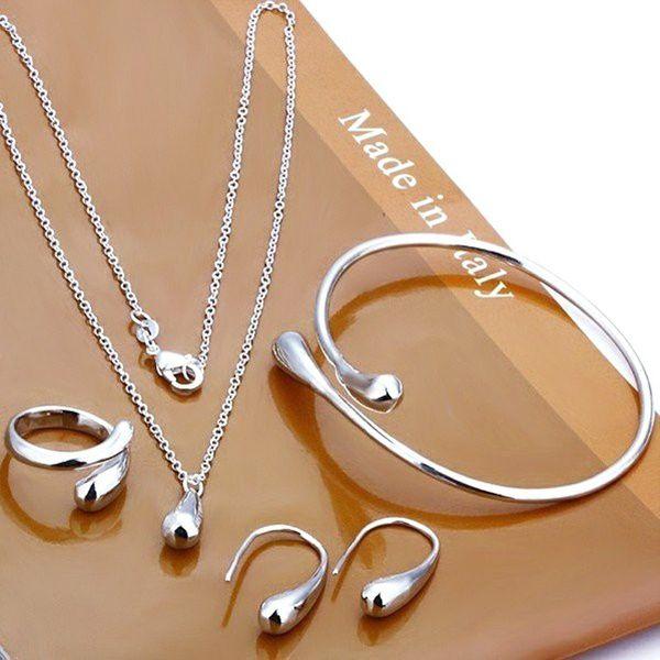 Kamalife Eardrop Water Drop Big Hand Chain Bracelet Necklace Ring Hook Oval Earings Set
