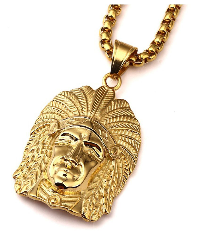 Kamalife  Fashion 24K Gold Plated Indian Chief Pendant Necklace Hip Hop Cuban Link Chain Alloy Hipster Necklace