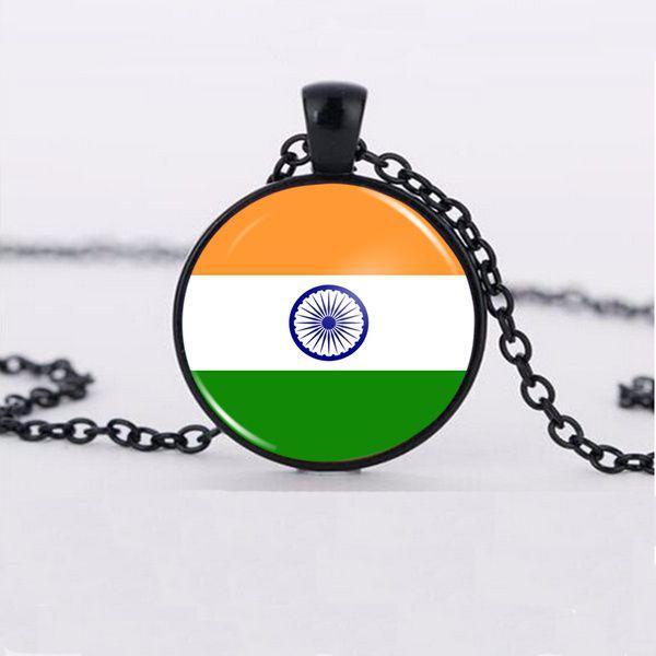 Kamalife Fashion Accessories Indian Flag Pendant Glass Pendant Necklace
