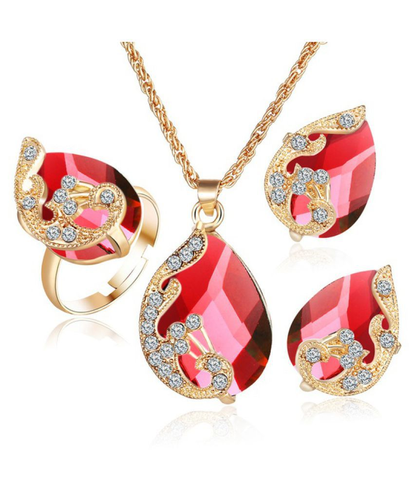 Kamalife Fashion Gold-plated Jewelry Set Crystal Drop Pendant Peacock Necklace Earrings Ring Three-piece for Female Red 1 set