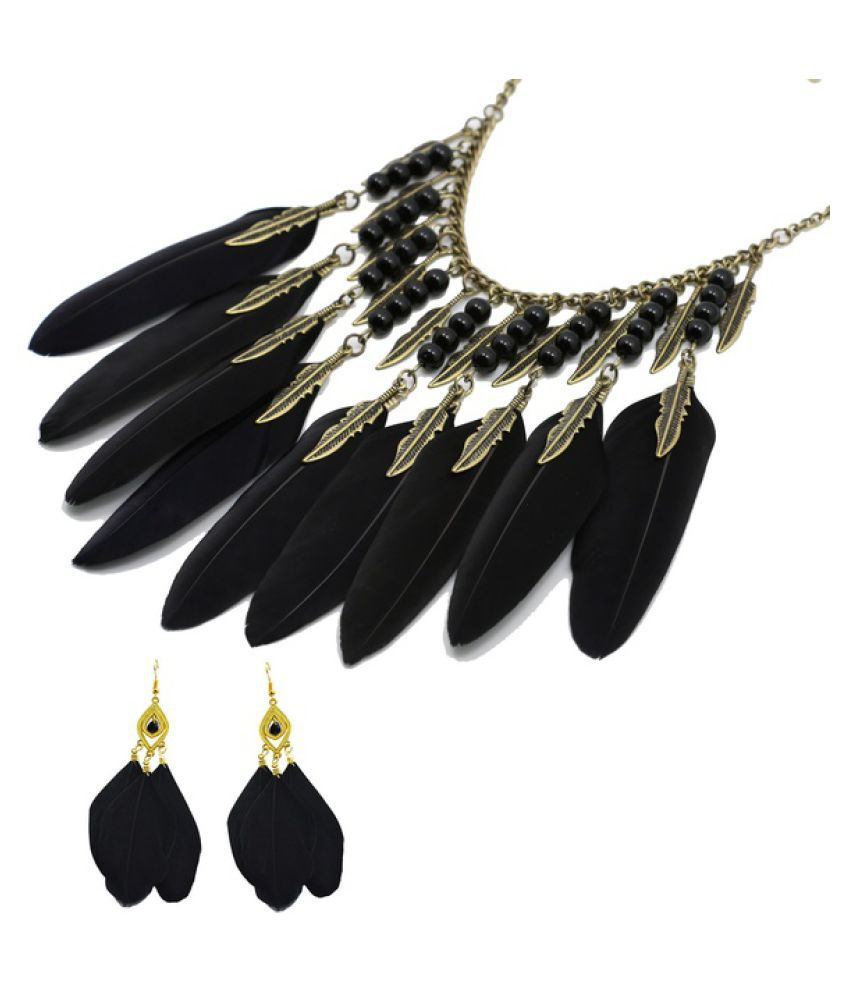 Kamalife Feather Necklace&Feather Earring Jewelry Set, Indian Style Feather & Leaf Women's Jewelry