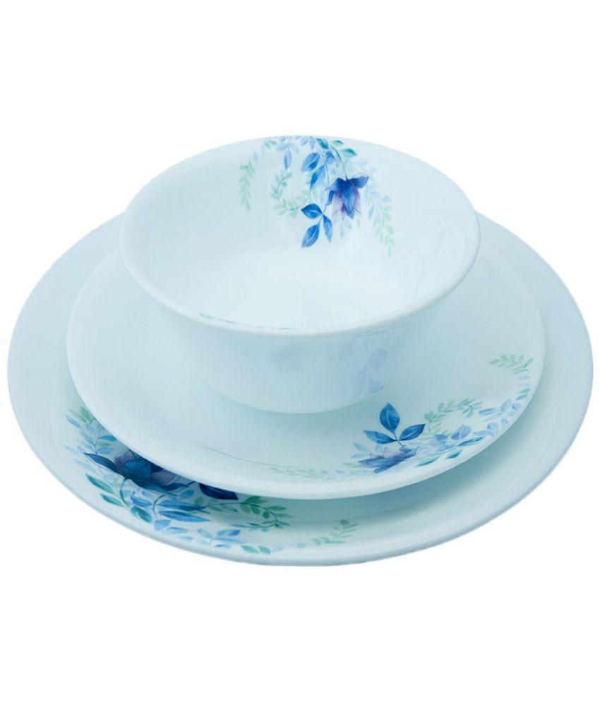 Corelle Blue Floral Glass Dinner Set of 12 Pieces