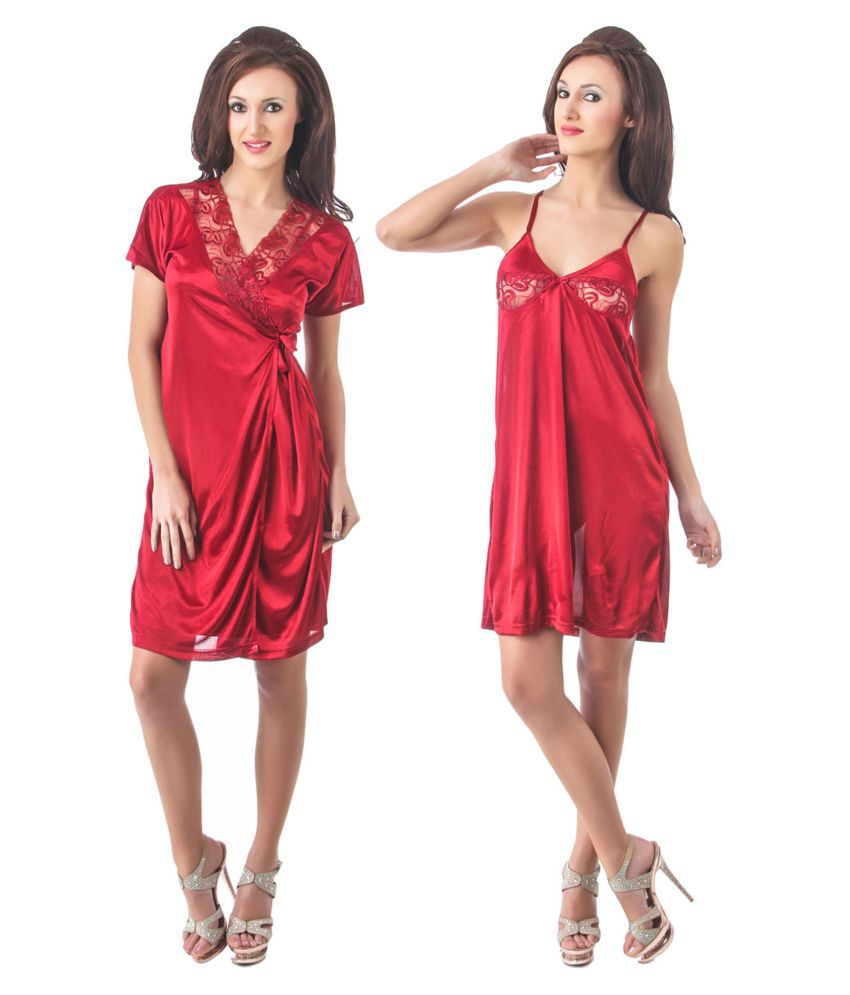 Buy Fasense Satin Nighty   Night Gowns - Red Online at Best Prices in India  - Snapdeal 5e24884cb