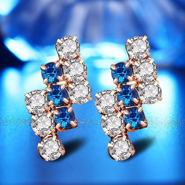 Kamalife 4Pcs/Set Creative Crystal Necklace Earring Ring Bracelet Set Gold Plated Sea Blue White Rhinestone Charm Jewelry Set for Bridal Wedding Engagement Gold Earrings