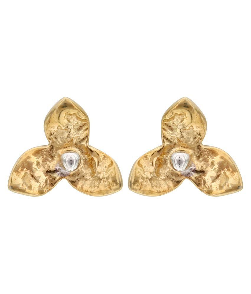 MAGS Silver Self Design Floral Shape Stud Earring for Girls (KLE-020, Golden)
