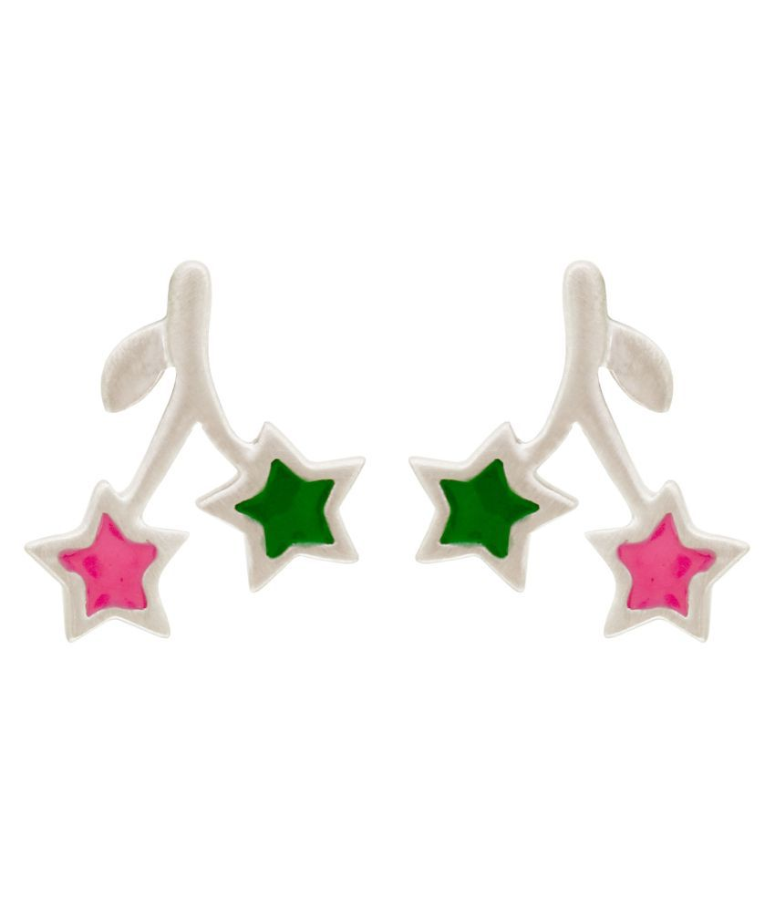 MAGS Silver Self Design Leaf Theme Stud Earring for Girls (KEE-198, Green & Pink)